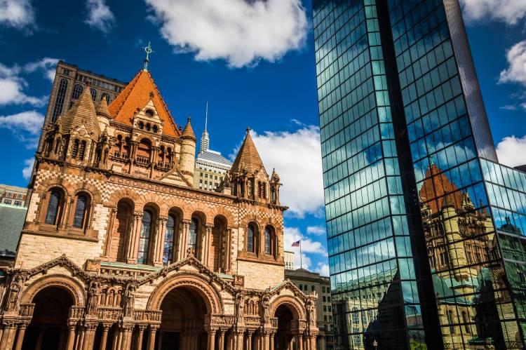 Boston's Trinity Church. A city of Contrasts